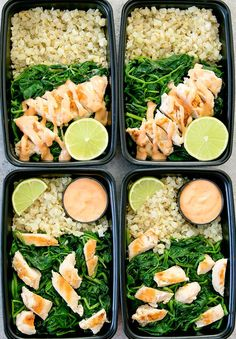 Seared chicken with sauteed spinach served with cauliflower rice and drizzled with a skinny version of my bang bang sauce. It's a low carb, easy meal that can be made ahead of time for your weekly meal prep.
