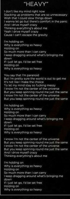Heavy lyrics by linkin park- love this song. To me this is poetry of my life! I Love Music, Music Is Life, Love Songs, Heavy Linkin Park, Chester Bennington Quotes, Linkin Park Chester, Chester Rip, My Love Lyrics, Linking Park
