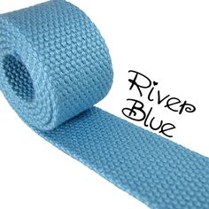 Cotton Webbing  River Blue  1.25 Medium Heavy by everythingribbons