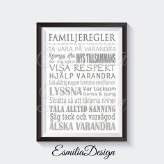A3 Prints till Tavla Familjeregler olika färger