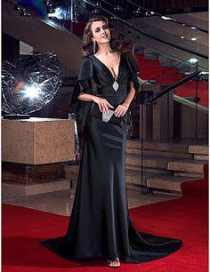 Serata formale Vestito - Sensuale / Schiena scoperta / Formale A sirena A V Strascico a terra Raso elasticizzato Vestito di Marca TS Couture €445.90 (74% DI SCONTO) €117.59