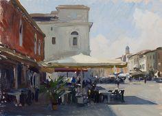 Marc DAlessio - Plein air festészet egy kávézó Chioggia, Olaszország.