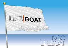 MEDITERRANEAN SEA, EUROPE, YEAR 2017 - Flag of LIFE BOAT, International Non-Governmental Organization Involved in Immigrants Rescue