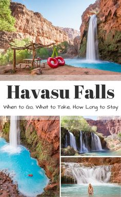 Guide to hiking to Havasu Falls in Arizona: When to Go What to Take How Long to Stay. Everything you need to know including Mooney Falls Beaver Falls Falls and Navajo Falls. Written by Wandering Wheatleys via Wandering Wheatleys Oh The Places You'll Go, Places To Travel, Places To Visit, Vacation Places In Usa, Hiking Places, Arizona Travel, Arizona Trip, Lakes In Arizona, Page Arizona