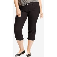 Levi's Plus Size Shaping Capri Jeans (41 CAD) ❤ liked on Polyvore featuring plus size women's fashion, plus size clothing, plus size jeans, black waves, slim cut jeans, slim jeans, slim fit jeans, plus size capris and plus size capri jeans