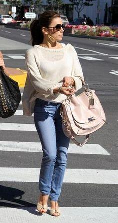 Who made Eva Longoria's gold earrings and nude bag? Earrings – Claudia Lobao  Purse – Coach