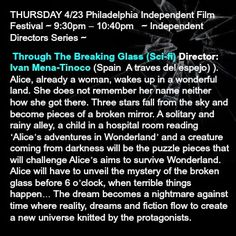 #PhillyCalendar: The Philadelphia Independent Film Festival @PhilaIndie  continues tonight with a slate films #narrative #shorts #animation #scifi #drama #comedy #thrillers @UArts.  This one, Through The Breaking Glass (Sci-fi) Director: Ivan Mena-Tinoco has really peaked my interest.   Be sure to check out the entire schedule: