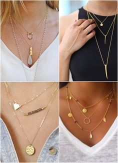 Trend Alert: layered necklaces have been on trend for a while now and here's some tips on getting this look to work for you. Jewelry Trends, Diy Jewelry, Jewelry Accessories, Fashion Accessories, Handmade Jewelry, Jewelry Design, Fashion Jewelry, Jewellery, Hippie Style