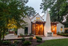 Crestline Residence - traditional - Exterior - Birmingham - Ruff Reams Building Co.  screened in back porch with fireplace - has grill on outside.