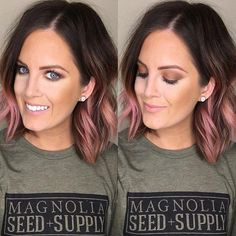 Hair example of too light rose gold ends: The most beautiful hair ideas, the most trend Rose Gold Hair Brunette, Pink Ombre Hair, Rose Gold Short Hair, Rose Gold Ombre, Brown Hair To Rose Gold, Brown Hair Pink Ends, Rose Gold Balyage, Pink Hair Tips, Rose Pink Hair