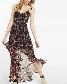 Floral Print Tie Shoulder Ruffle Maxi Dress
