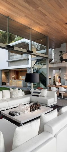 Stunning and very unique architecture. The use of vertical and horizontal lines makes it very modern. Also the organic design and large open windows bring the outside in. Interior Design For Living Room Home Interior Design, Interior Architecture, Interior Decorating, Unique Architecture, Residential Architecture, Luxury Interior, Luxury Decor, Interior Ideas, Installation Architecture
