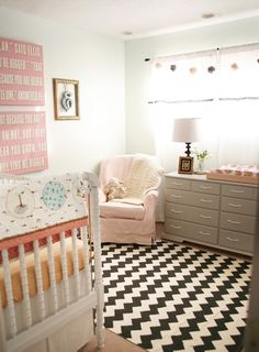 Mint and grey color for nursery. Love the wall color = Spearmint Stick by Behr. PS: love the rug too!