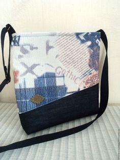 """Купить Сумочка """"Готика"""" с джинсовой тканью - сумочка через плечо, сумка ручной работы"""