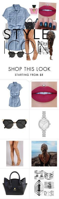 """""""jean dress"""" by ahriast ❤ liked on Polyvore featuring Gap, Fendi, GUESS, Kate Spade and Boohoo"""