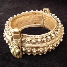 Antique Yemen-Yemenite silver 700-800 (low-med silver with copper) Bracelet with front embedded turquoise stones - Islamic mid-late 19th