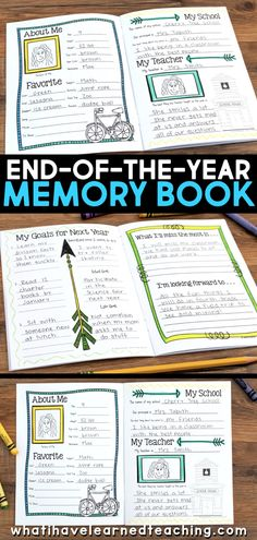 This end-of-the-year memory book is perfect for and grades and helps them reflect on their school year while keeping students busy during those last few days of school! End Of Year Activities, Classroom Activities, Book Activities, Montessori Activities, Classroom Ideas, End Of School Year, Reading Worksheets, School Memories, Teacher Favorite Things