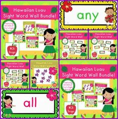 This bundle features all 300 of Fry's sight words! 178 pages of tropical themed word wall posters to brighten your classroom!  My Hawaiian Luau Sight Word Wall Bundle includes: All 300 Fry sight words Tropical themed word wall headers