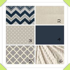 Navy, ivory and grey custom nursery bedding