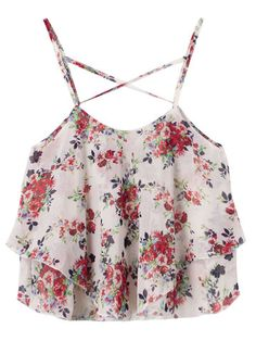 Women Strap Flower Printed Chiffon Irregular Tank Top