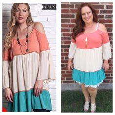 """SALE  PLUS SIZE Color block tunic dress Full swing Off-the-shoulder color block tunic dress. Color: coral/ivory/mint. Available in size XL(12-14) and 1X(14-16).  U1775220. Model in last photo is 5'6"""" 14/16 modeling size 1X. She is also wearing a dress extender underneath which is also available for purchase in my closet. LENGTH: 38"""" from top of straps to bottom hem. BUST: XL-23"""" 1X-24"""" 2 a T Boutique  Dresses"""