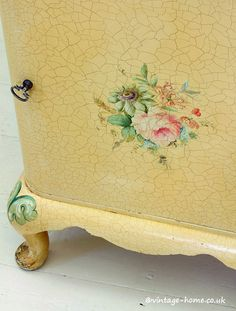 Hand Painted Roses Bedside Cabinet
