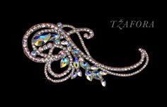 Ballroom hair accessory and ballroom jewelry made with Swarovski, available at www.tzafora.com © 2015 Tzafora. Handmade in Canada.