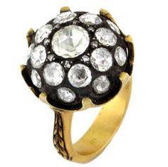 Edwardian Yellow Gold Rose Cut Diamond Cluster Ring