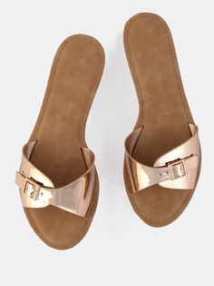 Online shopping for Metallic Buckle Slides ROSE GOLD from a great selection of women's fashion clothing & more at MakeMeChic.COM.