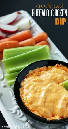 Crock Pot Buffalo Chicken Dip - Buffalo chicken is super popular among the football food, so we decided to make a dip!