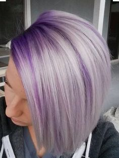 Purple Shadow root with blonde hair