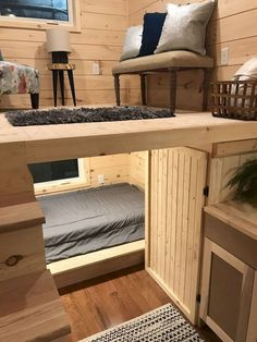 """22 & # """"Sweet Dream"""" Reverse Loft Little House On Wheels By Incredible Tiny . 22 & # """"Sweet Dream"""" Reverse Loft Little House On Wheels By Incredible Tiny Homes – # Source by Awesome Bedrooms, Cool Rooms, House Ideas, Tiny House Living, Rv Living, Small Living, Tiny House Shed, Living Rooms, Tiny House Closet"""