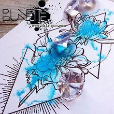 Watercolor dahlia flower geometric tattoo idea inspiration bunette skinque