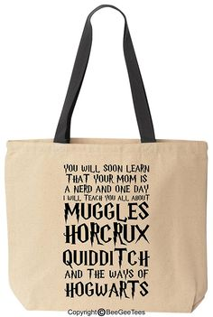 You Will Soon Learn That Your Mom Is A Nerd Funny Harry Potter Reusable Canvas Tote Bag by BeeGeeTees® (Black Handle) -- Find out more about the great product at the image link.