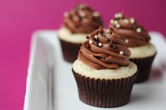 Sometimes amidst all of the over-the-top recipes, you just need a basic chocolate and vanilla cupcake. This is a fantastic basic recipe! I made this for a kids birthday party, and they were a huge hit. You'd think these might be boring, but the adults even said the cake was so moist that it was one of their favorites. You really can't go wrong with the classic chocolate and vanilla pairing. (Chocolate Vanilla Cupcakes)