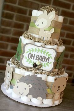 Your place to buy and sell all things handmade Deco Baby Shower, Shower Bebe, Baby Boy Shower, Idee Cadeau Baby Shower, Diaper Cake Boy, Diaper Cakes, Cheap Baby Shower Gifts, Woodland Cake, Themed Cakes