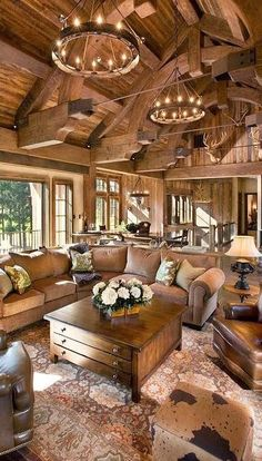 I Love Unique Home Architecture. Simply stunning architecture engineering full of charisma nature love. The works of architecture shows the harmony within. Log Cabin Homes, Log Cabins, Log Cabin Kitchens, Rustic Kitchens, Barn Homes, Family Room Design, Cabin Interiors, Rustic Interiors, Home Fashion