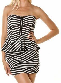 ustrendy, Kami Shade Black & White Stripe Ruffle Strapless Dress w/ Zi,  Dress, party dress  birthday dress  cocktail dress, Chic