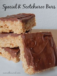 These Special K Scotcharoo Bars are one of our family favorites. We like them more than rice krispie treats! Easy to make and the perfect peanut butter chocolate flavor!