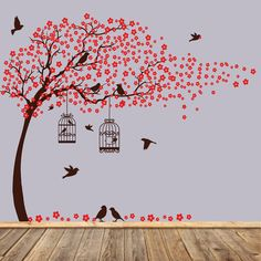 Items similar to Vinyl wall decals tree wall decal birds birdcage wall decals nursery wall sticker on Etsy Simple Wall Paintings, Creative Wall Painting, Wall Painting Decor, Nursery Wall Stickers, Kids Wall Decals, Wall Decor Stickers, Tree Wall Decals, Sticker Mural, Tree Wall Art
