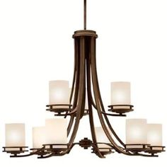 """View the Kichler 1674 Hendrik 9 Light 34"""" Wide 2-Tier Chandelier with Satin Etched Glass Shades at LightingDirect.com."""