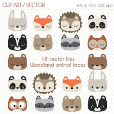 Woodland animal faces Digital Clipart  Commercial use