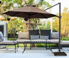 The 11ft Offset Cantilever Umbrella provides maximum multi-position shade with vertical tilt function by push button. Shop this umbrella with free shipping on abbapatio.com today! Outdoor Couch, Outdoor Living, Outdoor Decor, Outdoor Ideas, Cantilever Patio Umbrella, Offset Patio Umbrella, Deck Umbrella, Parasol Covers, Umbrellas Parasols