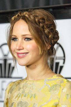 Jennifer Lawrence Hairstyles. Braided updo