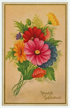 Postcards - Greetings & Congrads # 640 - Happy Birthday with Flowers