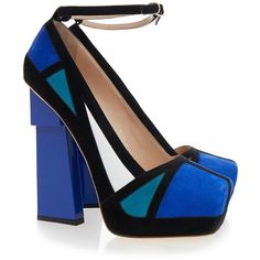 Aperlai Geisha Blue Klein Suede Platform ($330) ❤ liked on Polyvore featuring shoes, pumps, blue, heels, blue suede shoes, blue platform pumps, platform shoes, block-heel pumps and block heel shoes