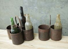 These quirky rustic Dendi storage pots are made from reclaimed metal sheet and are finished with an iron ring. They look great as cutlery holder, and Cutlery Storage, Cutlery Holder, Jar Storage, Kitchen Storage, Shabby Chic Cafe, Rosemary Plant, Vintage Cutlery, Iron Ring, Garden Table