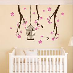 Αυτοκόλλητο τοίχου Κλαδάκια με κλουβάκι Wall Stickers, Decals, Pen Art, Ink, Home Decor, Wall Clings, Tags, Decoration Home, Wall Decals