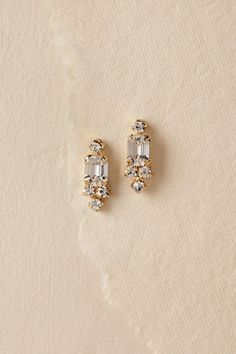 Bridal Jewelry Camilla Christine Carina Drop Earrings - Description Emerald-cut crystals deliver maximum sparkle on these otherwise delicate drops. By Camilla Christine Style Gold Drop Earrings, Wedding Earrings, Stud Earrings, Jewelry Logo, Silver Jewelry, Jewelry Design, Silver Ring, Jewlery, Bridesmaid Jewelry