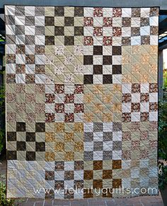 Felicity Quilts: Morris 16-Patch, I can see making this quilt with Japanese taupes, love the quilting